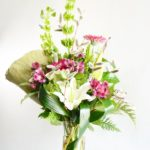 rich, green bells, white, oriental lilies, peruvian lilies, gerberas, silver bullion, accent, willow, branching