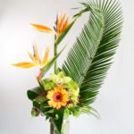 birds of paradise, sago palm, gergera, orchids, green ball, dianthus, lycopodium, berzilia berries