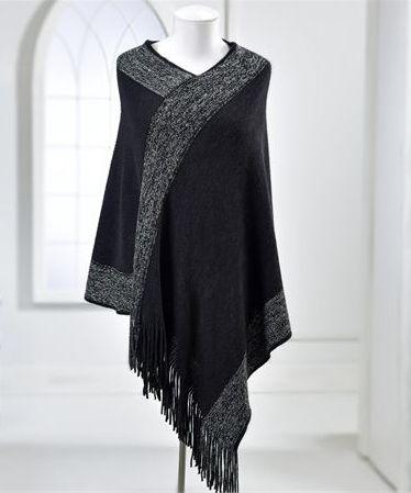 black & silver knit poncho